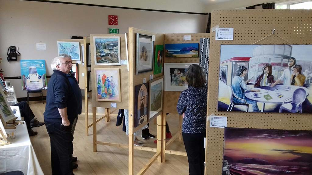 sefton art group's art exhibition at Lydaite parish hall, merseyside, for beginners and those more advanced artists