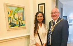member of sefton art group with her painting at the Lancashire Open exhibition, chapel gallery, Ormskirk. A the preview. Varsha is a member of our Merseyside art class at hightown