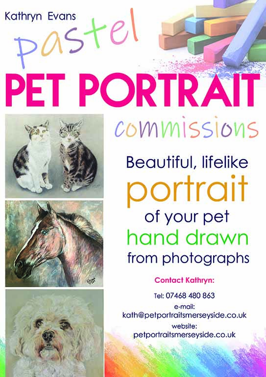 pet portraits by Kathryn Evens, sefton art group, liverpool, southport, Merseyside