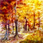 watercolour beginners class, merseyside, A beautiful example of a watercolour painting. An autumnal scene, done by artist Joan Cotterall