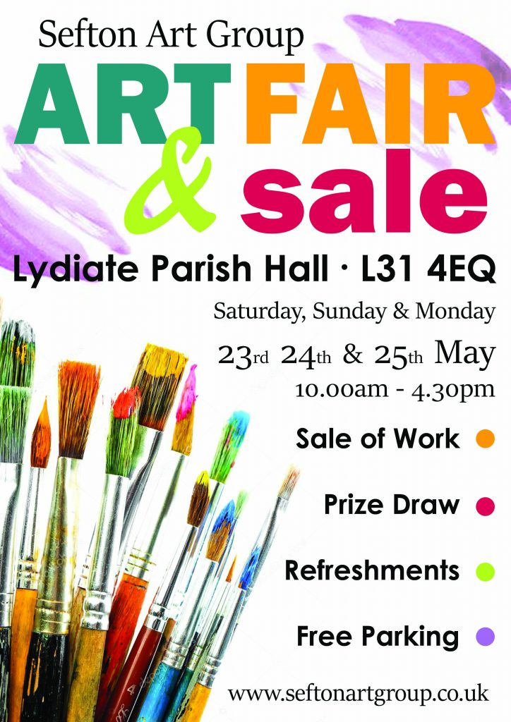 exhibition of sefton art group members will be at lydiate L31 4EQ end of May 2020