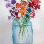 flower painting, sefton art group, merseyside