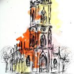 St. Lukes church, liverpool, merseyside, painting, sefton art group