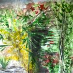 Paul's painting, experimenting with both watercolour, acrylics, art class, sefton