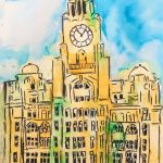 painting of the liver buildings, beginners art class, learn to paint, near me, liverpool, southport, merseyside