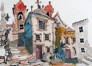 watercolour painting of liverpool, art class, beginners course, near me,