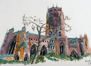 Another watercolour, by Chris, Anglican cathedral,