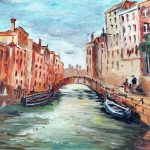 acrylic painting of venice, by member of the beginners class, art class, Southport, Ormskirk, Formby, blundell sands, merseyside