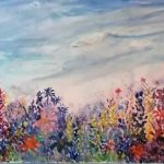 painting of flowers, in garden, sefton art group, beginners class, liverpool, southport, merseyside,