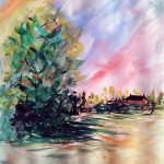 watercolour experimental painting, learning watercolours, art class, lydiate, sefton, liverpool, merseyside
