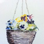 hanging basket of flowers, painting, sefton art group, beginners, art classes