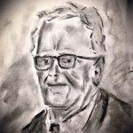 By Joe, portrait of his Granddad, beginners art class, lydiate, liverpool, southport, merseyside