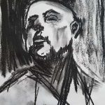 charcoal portrait, member of the sefton art group, southport, merseyside