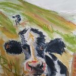 Cheeky cow!! Watercolour and pastel....
