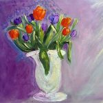 painting of tulips, acrylics, sefton art group, maghull, lydiate, sefton, merseyside,