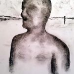 One of the iron men, Crosby beach., painting, drawing, sefton art group, liverpool, merseyside,