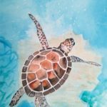 sea turtle, watercolour painting, beginners class, atkinson, southport, merseyside,