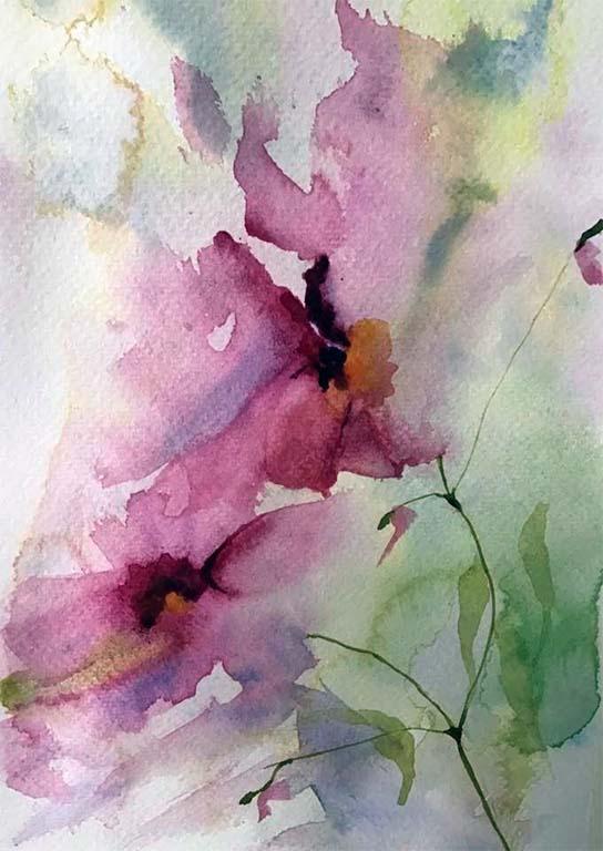 watercolour flower drawing, member sefton art group, atkinson art centre, southport, merseyside, art class