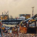 """Another painting finished acrylic on canvas 59cm x 50cm """"Locks of Liverpool Docks"""""""