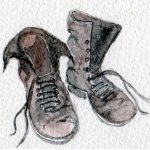learn art, drawing of pair of boots, sefton art group, beginners art class