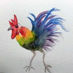 watercolour painting, chicken, member sefton art group, art class, atkinson, southport,merseyside