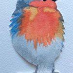 watercolour painting, robin, member sefton art group, merseyside, southport, liverpool, art classes, art class