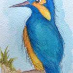 watercolour painting of a bird, sefton art group, atkinson art centre, art class, southport, merseyside,