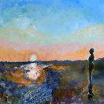 painting of the iron men, crosby beach, liverpool, merseyside,