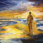 acrylic painting, iron men, crosby beach, art class, for beginners, liverpool, merseyside, southport,