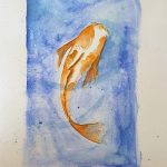 gold fish, painted by Simone, member sefton art group, watercolours, liverpool, sefton, mersyeside