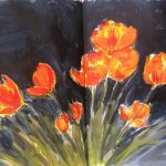flower paintin from Sue Dewhurst's sketch book, southport, atkinson art class, merseyside