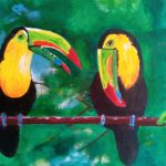 toucans, painting, sefton art group, merseyside, art classes, near me