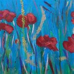 painting of poppies, sefton art group, zoom on line art classes, for beginners,