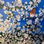 painting of a robin, in blossom, art class, lydiate, sefton, merseyside,
