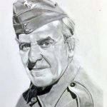 drawing of john le mesurier, dad's army, beginners art class, hightown, formby, sefton, merseyside,