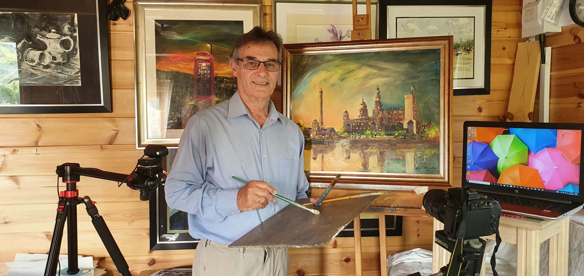 artist roy munday, art tutor in his studio, southport, merseyside, offers online art courses, art classes, for beginners,