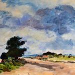 painting of a landscape, done on zoom art class, sefton art group, merseyside, southport, liverpool,