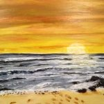 sunset painting, sefton art group, online art class, beginners, liverpool, merseyside,