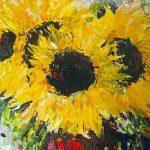 painting of sunflowers, sefton beginners art group, merseyside, liverpool