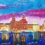 painting of liverpool waterfront, member of sefton art group, beginners art class, drawing and painting, online art courses, near me, liverpool, southport, lydiate, merseyside
