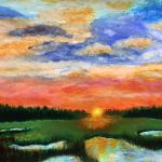 painting of a sunset, done via zoom online art class, for beginners, take up art and drawing, liverpool, merseyside,